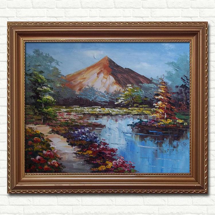 原创山水风景油画欧式有框立体客厅装饰壁画家居餐厅玄关